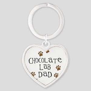 Chocolate Lab Dad Heart Keychain
