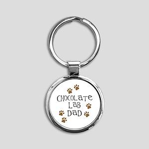 Chocolate Lab Dad Round Keychain