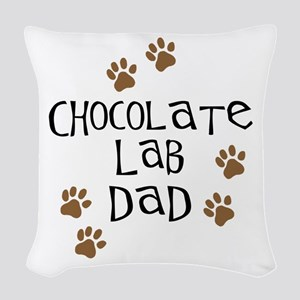 Chocolate Lab Dad Woven Throw Pillow