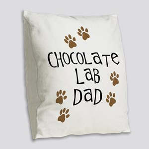 Chocolate Lab Dad Burlap Throw Pillow