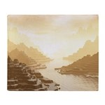Misted Mountain River Passage Throw Blanket