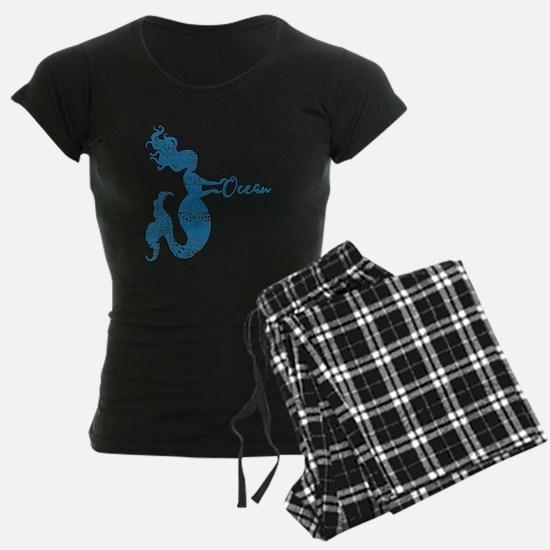 Ocean Mermaid Word Bubble in Blue Pajamas