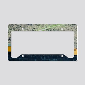 Coloured beach huts and Whitb License Plate Holder