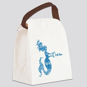 Ocean Mermaid Word Bubble in Blue Canvas Lunch Bag