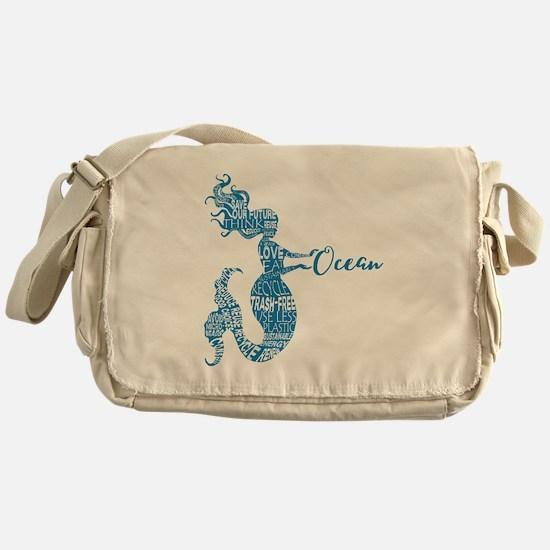 Ocean Mermaid Word Bubble in Blue Messenger Bag