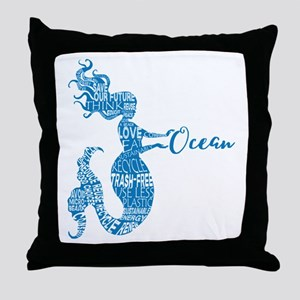 Ocean Mermaid Word Bubble in Blue Throw Pillow
