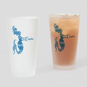 Ocean Mermaid Word Bubble in Blue Drinking Glass