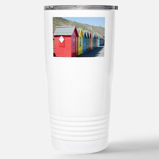 Beach huts at Whitby Sa Stainless Steel Travel Mug