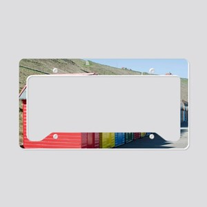 Beach huts at Whitby Sands License Plate Holder