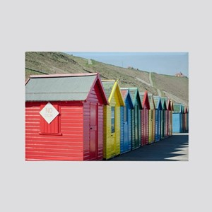 Beach huts at Whitby Sands Rectangle Magnet