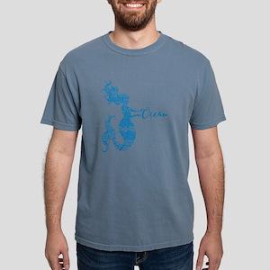 Ocean Mermaid Word Bubble in Blue T-Shirt