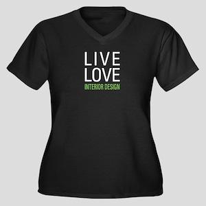 Live Love In Women's Plus Size V-Neck Dark T-Shirt