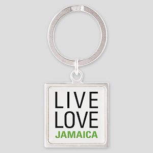 Live Love Jamaica Square Keychain