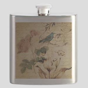 teal bird vintage roses swirls botanical art Flask