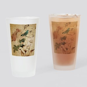 teal bird vintage roses swirls bota Drinking Glass