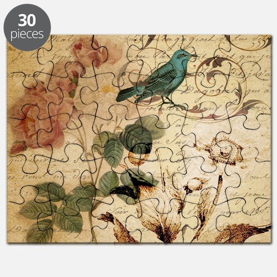 teal bird vintage roses swirls botanical ar Puzzle