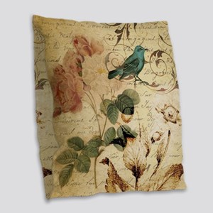 teal bird vintage roses swirls Burlap Throw Pillow