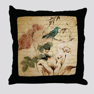 teal bird vintage roses swirls botani Throw Pillow