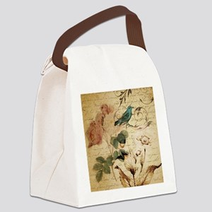 teal bird vintage roses swirls bo Canvas Lunch Bag