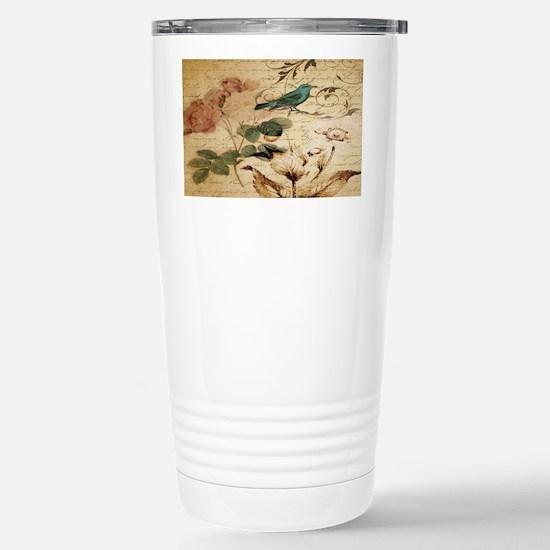 teal bird vintage roses Stainless Steel Travel Mug