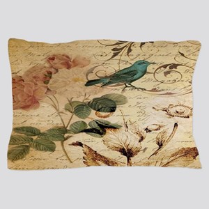 teal bird vintage roses swirls botanic Pillow Case