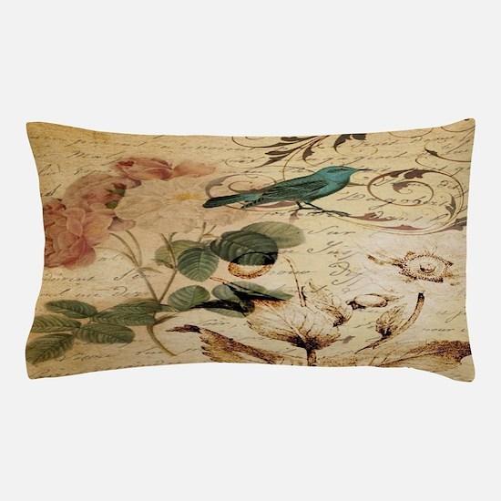 teal bird vintage roses swirls botanic Pillow Case