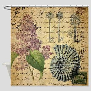 vintage skeleton key lilac seashell Shower Curtain