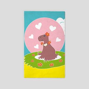 Capybara in Love 3'x5' Area Rug