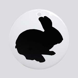 Black Silhouette Easter Bunny Ornament (Round)