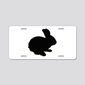 Black Silhouette Easter Bunny Aluminum License Pla