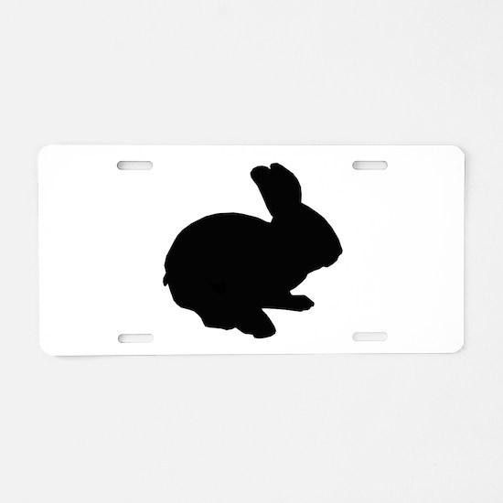 Black Silhouette Easter Bunny Aluminum License Pla
