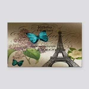 lilac butterfly eiffel tower  Rectangle Car Magnet