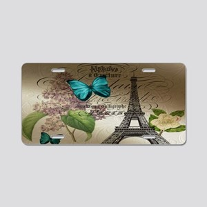 lilac butterfly eiffel towe Aluminum License Plate