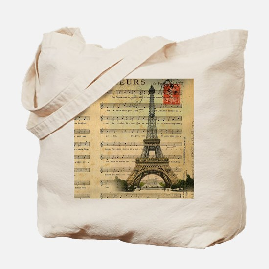 vintage music notes paris eiffel tower la Tote Bag