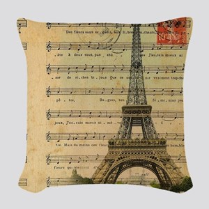 vintage music notes paris eiff Woven Throw Pillow
