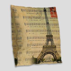 vintage music notes paris eiff Burlap Throw Pillow
