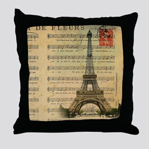 vintage music notes paris eiffel towe Throw Pillow