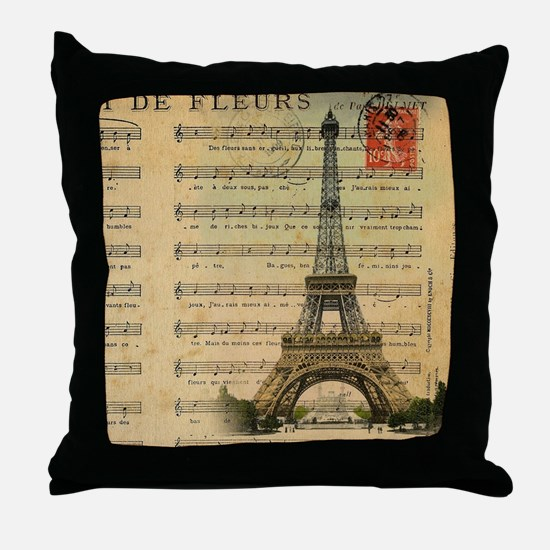 vintage music notes paris eiffel towe Throw Pillow