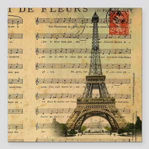 "vintage music notes pari Square Car Magnet 3"" x 3"""