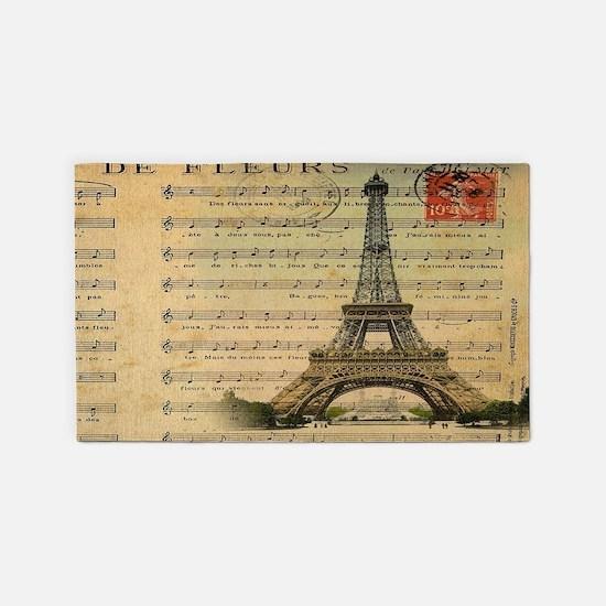 vintage music notes paris eiffel to 3'x5' Area Rug
