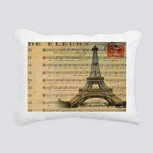 vintage music notes pari Rectangular Canvas Pillow