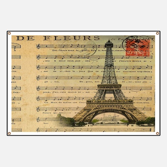 vintage music notes paris eiffel tower land Banner