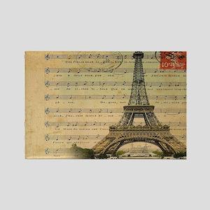 vintage music notes paris eiffel  Rectangle Magnet