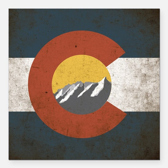 "Colorado State Mountains Square Car Magnet 3"" x 3"""