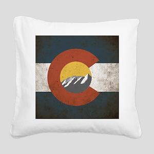 Colorado State Mountains Square Canvas Pillow