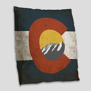 Colorado State Mountains Burlap Throw Pillow