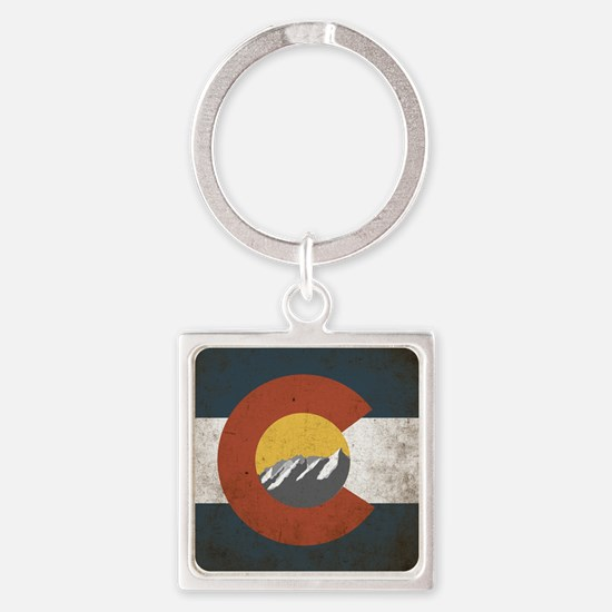 Colorado State Mountains Square Keychain