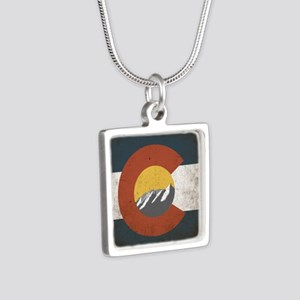 Colorado State Mountains Silver Square Necklace