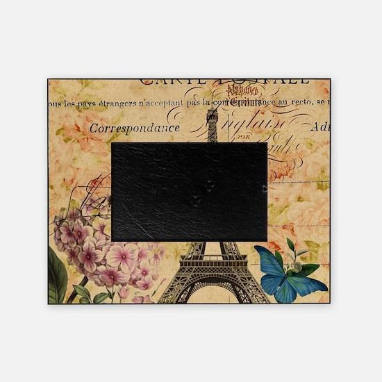 vintage floral butterfly paris eiffe Picture Frame