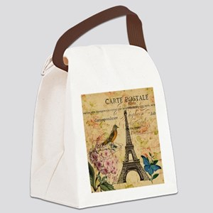 vintage floral butterfly paris ei Canvas Lunch Bag